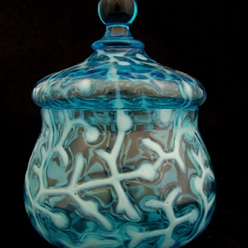 Scarce Hobbs and Brockunier & Co. Seaweed Blue Opal Covered Sugar - Art Glass