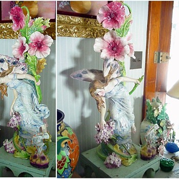 Art Nouveau FAIRY LADY French Majolica Vase