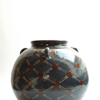 large french art deco three handled pottery vase by JEAN GARILLON, manufacture elchinger, soufflenheimELCHINGER