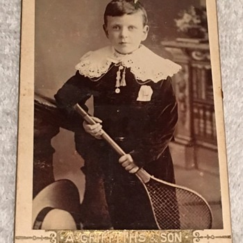Victorian (England) --BOY WITH TENNIS RACKET  CDV