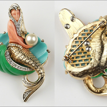 Hattie Carnegie Mermaid - True Vintage vs Reproduction - Costume Jewelry