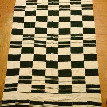 1960's Hand sewn & woven strip blanket African? Peruvian?