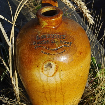 I WRIGHT SALT GLAZED FLAGON LONDON 1850S