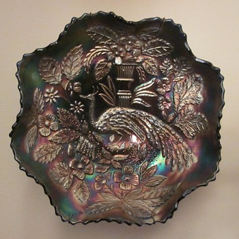 Peacock Urn Carnival Glass Bowls