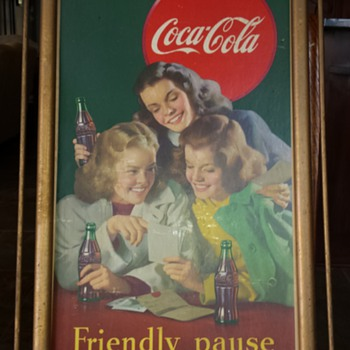 Coca cola wood framed sign.