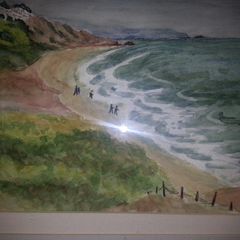 L.LEWIS OCEAN SCENERY WATERCOLOR PAINTING