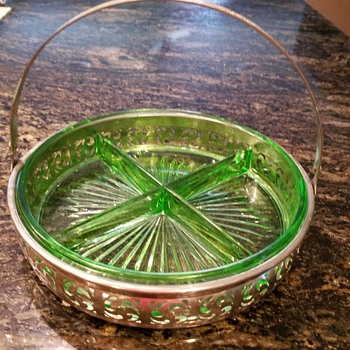 Green glass relish tray with metal handle