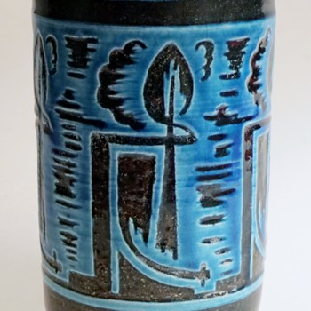 Deco Era Art Pottery Vase~Turquoise Glaze on Hand Cut relief Design~Interesting Signature