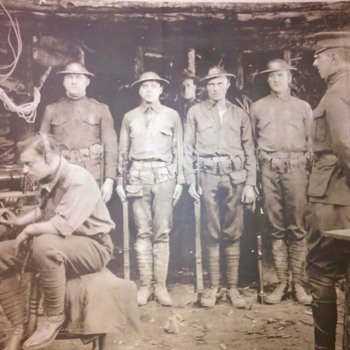 RARE WWI US Marines in the dug-out photo  - Military and Wartime