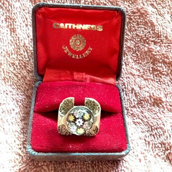 Early 70's Caithness Ysart millefiori ring from Scottland.