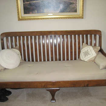 Great Grandma's slat back sofa
