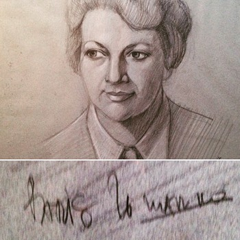 Mid Century charcoal drawing portrait. Help identify artist? - Visual Art