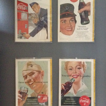 Four vintage coca cola ads