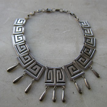 Silver necklace marked Mexico