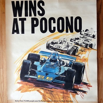 "Vintage ""Sunoco wins at Pocono"" Poster- 1971 - Advertising"