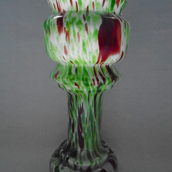 Welz Pedestal Vases Green Aventurine and Oxblood