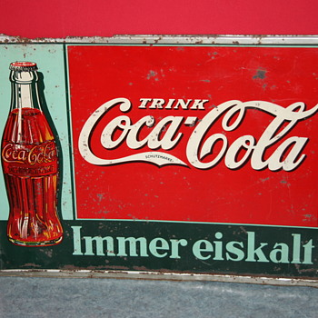coca cola german tin sign - Coca-Cola