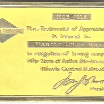 Illinois Central Gold 50 Year Service Pass - Railroadiana
