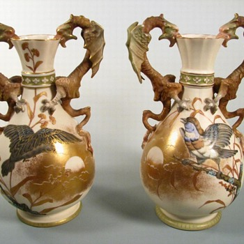 Antique Stellmacher Dragon Handled Vases - Art Pottery