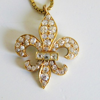 Antique Georgian OMC Diamond 18k Fleur De Lis Lavaliere Necklace - Fine Jewelry