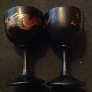 Japanese/Chinese wood lacquer goblets. - Asian