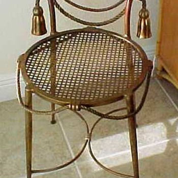 cutest Italian mid century gilt iron chair Bridget goes to Itay