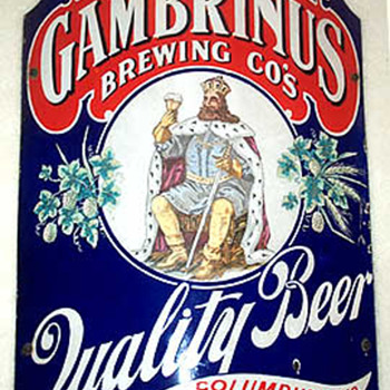 Early 1900's Gambrinus Beer Enamel Sign - Breweriana