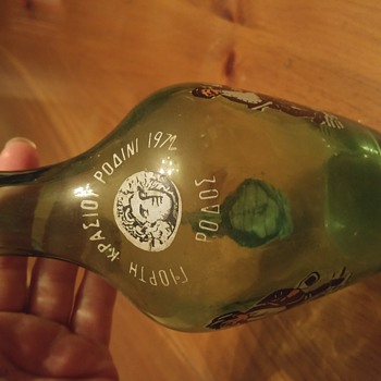 MYSTERY GREEN GLASS WITH GREEK(?) WRITING 1972