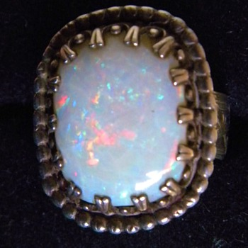 Antique Victorian Huge Fire Opal Mens Etched Sterling Ring Sz 11