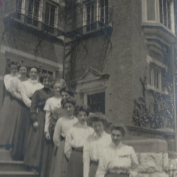 "At the college door step with friends""1910"""