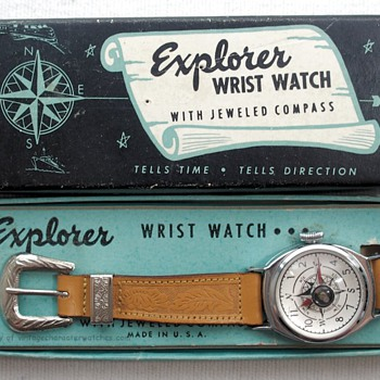 "1954 ""Explorer"" Compass Wrist Watch & Original Box - Wristwatches"