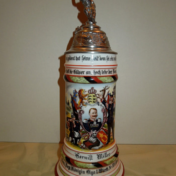 Imperial German Reservist's stein of Hornist Miller, 119th Wurttemberg Grenadiers - Breweriana