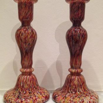 Welz spatter glass candlestick pair