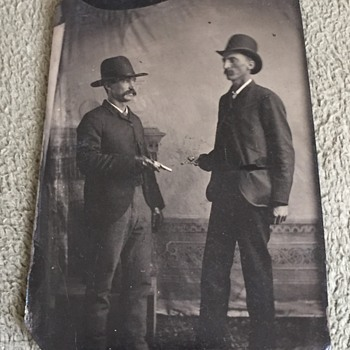 Antique Tintype Men With Pistols Outlaws??