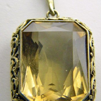 Vintage Deco Citrine Cushion Cut Filigree 835 Silver Gold Gilt Pendant Germany - Fine Jewelry