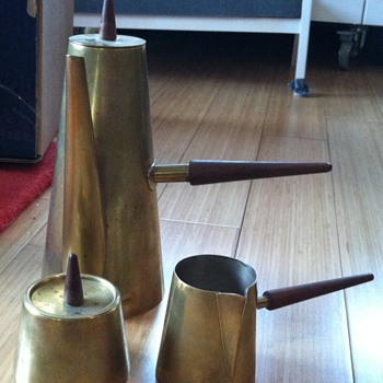 Italian Mid-Century Brass and Silver Coffee Service - Gio Ponti?