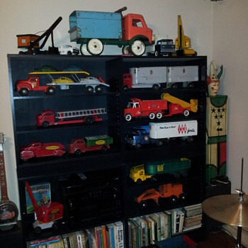 Post 100.  A Group Display Of Previous Posted Pressed Steel Toys  - Model Cars