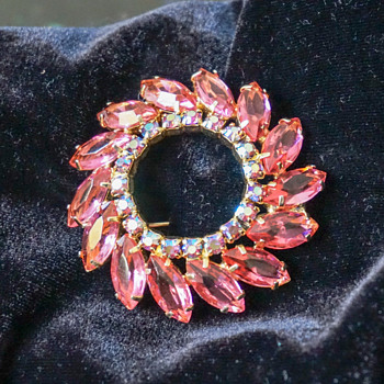 Pink Rhinestone Circle Brooch - Costume Jewelry