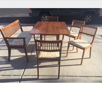 Mid Century  Table and Bench/Chair set