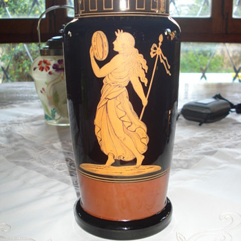 Harrach Basalt glass vase with classical lady - Art Glass