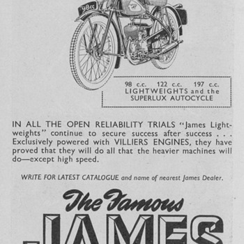 1950 James Lightweights Motorcycle Advertisement - Advertising