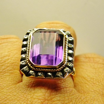 Vintage Antique Amethyst Rose Diamond Silver 18k 750 Ring French?