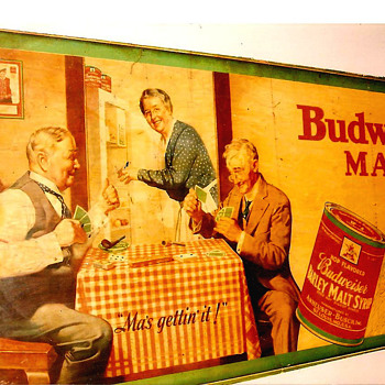 1920&#039;s varnished wood sign Budweiser malt syrup &quot;Ma gettin&#039; it!&quot; - Breweriana