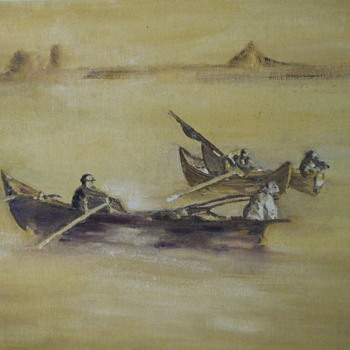 Man and his Dog in a Boat.  Painting. Maybe 1930s? - Visual Art