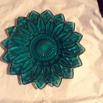 "Federal Glass Teal blue Flower Petal 11 1/2"" Serving Platter - Glassware"
