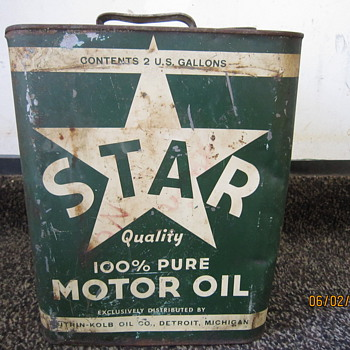 1930's-1940's Star Motor Oil Citrin-Kolb Co. Detroit MICH 2 Gallon Can - Petroliana