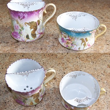 RS Prussia shaving mug and moustache mug for comparison - China and Dinnerware