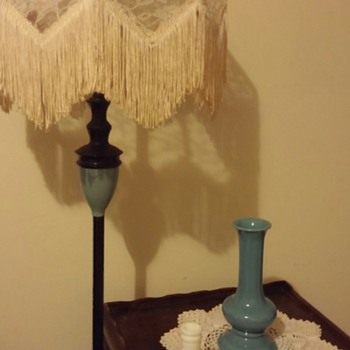 Lamp shade, hobnail candleholder and blue bottle