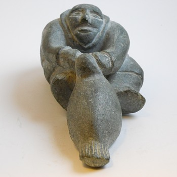 "Inuit Stone Carving""Man Pulling a Seal""Age Unknown"