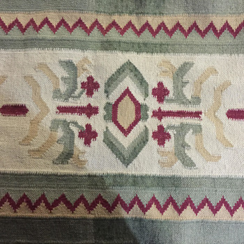 Newly Acquired Flat Weave Rug - Design is perplexing to me.  Thoughts?